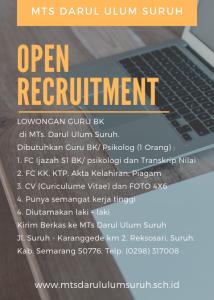 Open Rekruitment mts darul ulum suruh